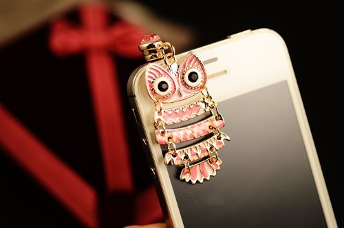 EVTECH(TM) Cute Pink Owl Earphone Plug Anti Dust Plug for 3.5mm CellPhone Charm Anti Dust Plug Earphone Headphone Jack Accessory For iphones, ipods, ipads, Samsung Galaxy series and more