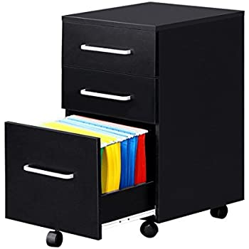 3 Drawer Wood File Cabinet With Wheels By DEVAISE In Black/Walnut (Black)
