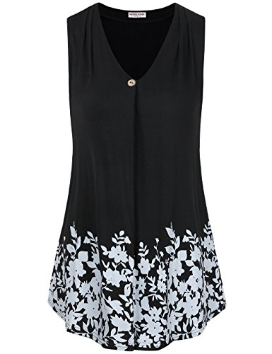 MOOSUNGEEK Women#039s Paisley Printed Pleated Front Sleeveless Summer Tunic Tank XLarge Blackw