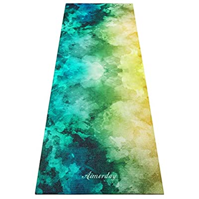 Aimerday Professional Printed Yoga Mat 72x24 inch Eco Friendly Non Slip High Density Optimal Padding Workout Exercise Mat Pilates, Fitness, Gym Sports Carrying Strap Bag 5mm