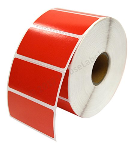 10 Rolls 13000 Labels, Zebra Eltron Compatible Direct Thermal RED 2 x 1 Labels (2