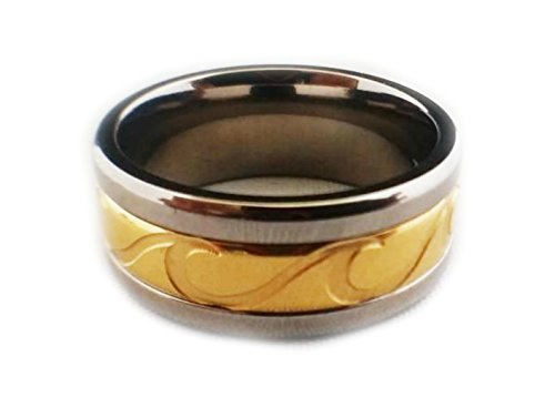Maleka Designs Hawaiian Ocean Wave, Wire, Palm Frond and Spin Rings Gold and Silver (Wave Spinner Ring, 6.5)