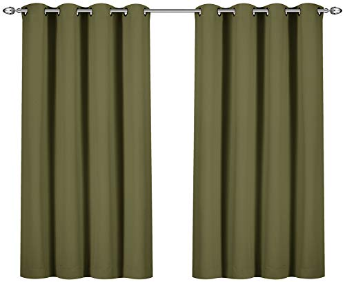 Utopia Bedding Grommet Top Thermal Insulated Blackout Curtains, 2 Panels, 52 x 63 Inch, Olive (Green Curtain Panels Blackout)