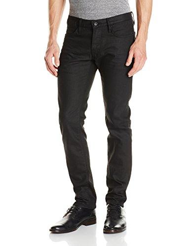 John Varvatos Star USA Men's Bowery Fit V Stitch Pocket Jeans , Jet Black, 36 Regular