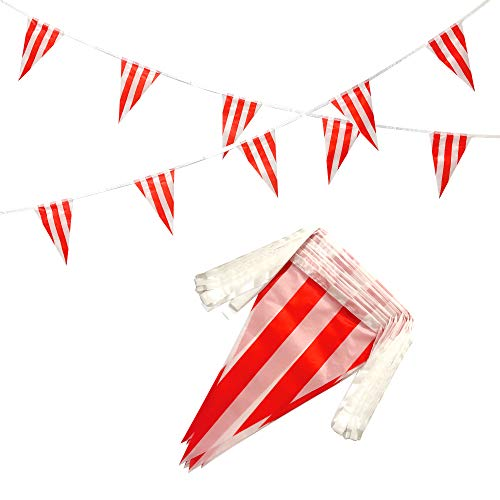 AuTop 100 Feet Red & White Striped Pennant Banner Flags String 60 PCS Indoor/Outdoor Triangle Bunting Flags,Party Decorations Supplies for Carnival Circus,Kids Birthday,Festival - Party Pennant String