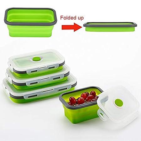 Port/átil de Viaje lavavajillas y congelador Apto para microondas Modaily Recipientes Plegables Recipientes Plegables Recipientes de Almacenamiento de Alimentos de Silicona Cuadrada Sin BPA