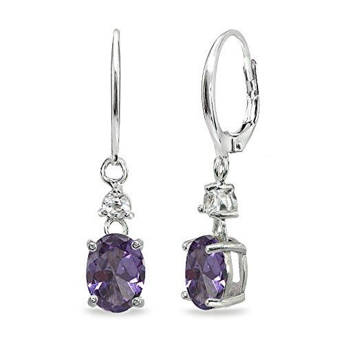- Sterling Silver Simulated Alexandrite & White Topaz 8x6mm Oval Dangle Leverback Earrings