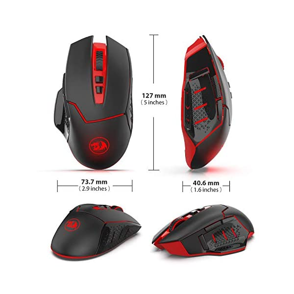 Redargon M690-1 Wireless Gaming Mouse with DPI Shifting, 2 Side Buttons, 2400 DPI, Ergonomic Design, 8 Buttons-Black