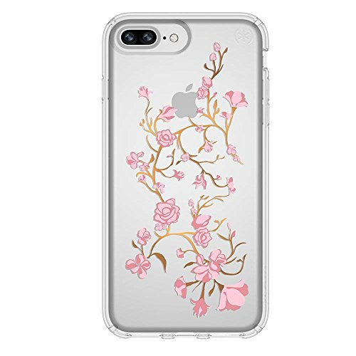 Speck Products Presidio Clear + Print Case for iPhone 8 Plus (Also fits 7 Plus and 6S/6 Plus), Goldenblossoms Pink/Clear