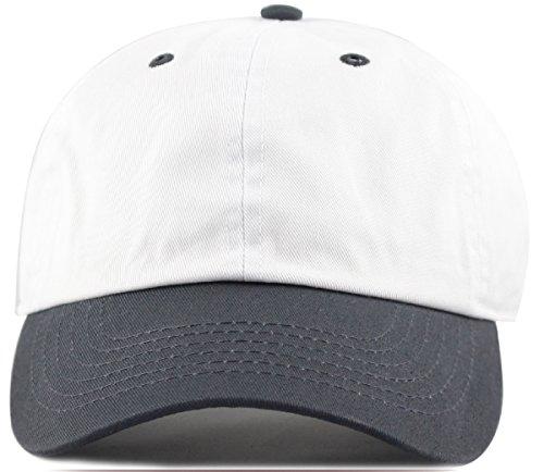 MIRMARU Two Tone 100% Cotton Stonewashed Cap Adjustable Hat Low Profile Baseball Cap.(Charcoal)