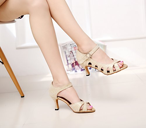Simple De Latine Maille Danse Salsa Or Des Style Minitoo Chaussures Femmes Sangle Dcoup Qj6209 YwzSqzT