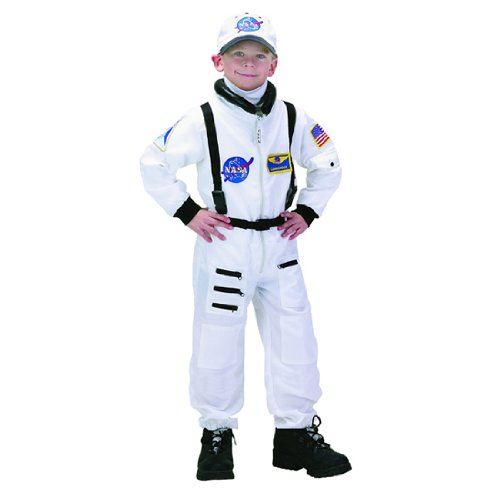 Jr. Astronaut White Suit Kids Costume, White / Black