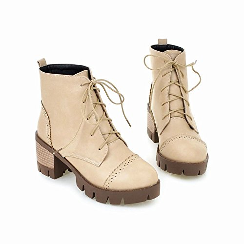Ankle up Lace Leather Latasa Womens Boots Faux Apricot Chukka Warm Chunky high wr0IXx0t