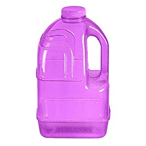 """1 Gallon BPA FREE Reusable Plastic Drinking Water Big Mouth """"Dairy"""" Bottle Jug Container with Holder - Purple"""