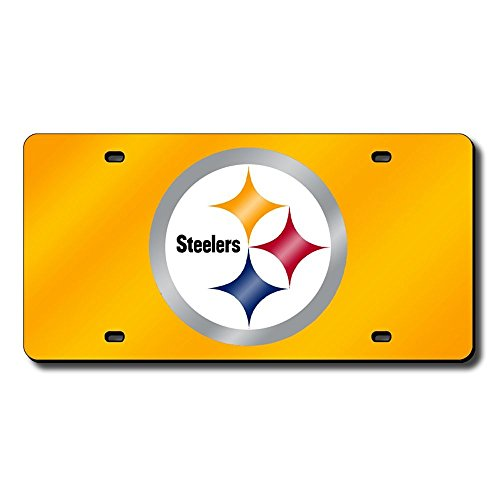 (Pittsburgh Steelers Deluxe Mirrored Laser Cut License Plate)