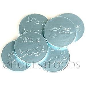"Blue ""It's a Boy"" Milk Chocolate Coins, 1 lb. bag, 91 coins"