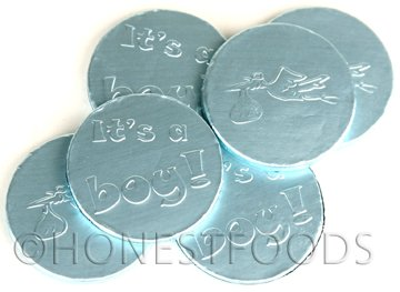 "Blue ""It's a Boy"" Milk Chocolate Coins, 1 lb. bag, 91 coins"