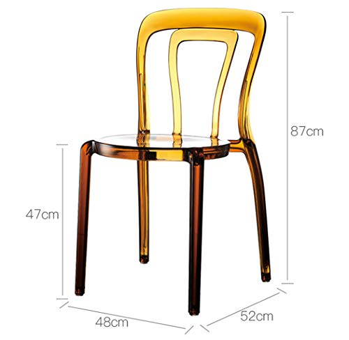 XINGPING Transparent Chair Fashion Hollow Crystal Chair Desk Chair Backrest Chair Hotel Banquet Chair Reception Chair (Color : Amber Brown) -