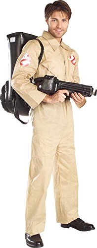 Ghostbusters Costume With Inflatable Backpack, Tan, Adult Standard (Book Costumes For Adults)