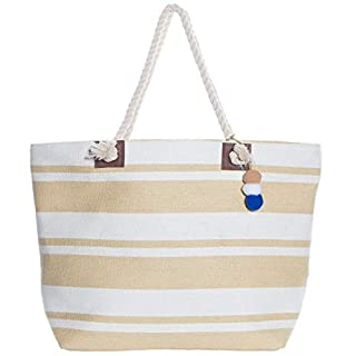 XL Nautical Striped Straw Beach Bags Tote with Zipper Closure and Rope Handle