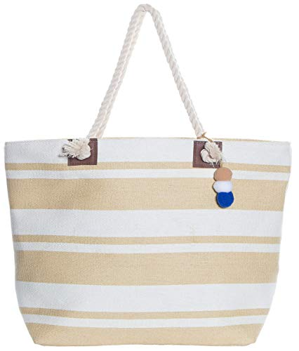 (Beach Bag By Pier 17 - Beach Tote Bag withTop Zipper Closure, Cotton Rope Handles, 2 Inner Pocket, Built-In Inner Backing for Extra Durability - L20