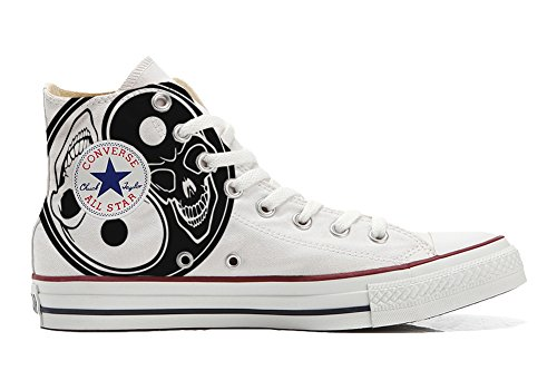 Converse Custom All Star High, Chaussure À La Main Avec Imprimé Karma Skull