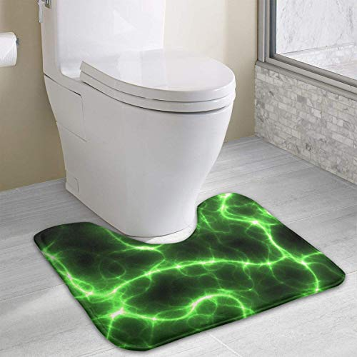 Beauregar Lightning Contour Bath Rugs,U-Shaped Bath Mats,Soft Memory Foam Bathroom Carpet,Nonslip Toilet Floor Mat 19.2″x15.7″