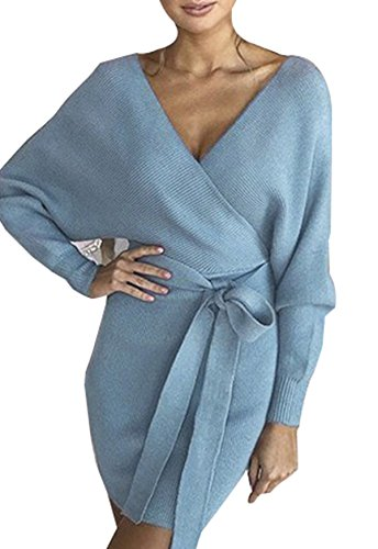 Asskdan-Femme-Elgant-Robe-Pull-Tricot-Col-V-Crois-Manche-Longue-Robe-Crayon-avec-Ceinture