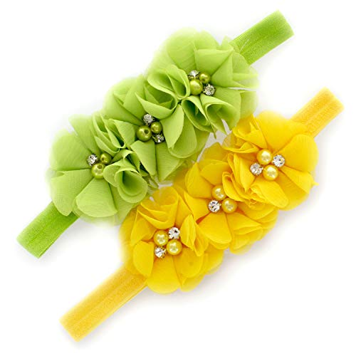 My Lello Girls Flower Headbands Toddler Fabric Beaded Trio Stretchy Elastic Pair (Apple Green/Yellow) ()