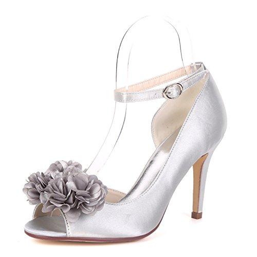 L@YC Zapatos De Boda De Las Mujeres Party Peep Toe Bridesmaids Chunky 9cm Heel Sandalia Nupcial De Gran TamañO Silver