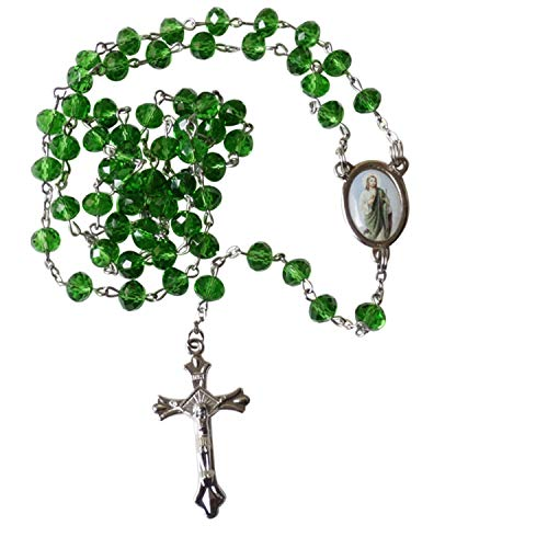 Saint Jude Patron of Impossible Causes San Judas Tadeo Green Quartz Cristal Faceted Rondelle 8mm Beads Rosary with Silver Plated Crucifix and Medal Centerpiece Includes a Prayer Card