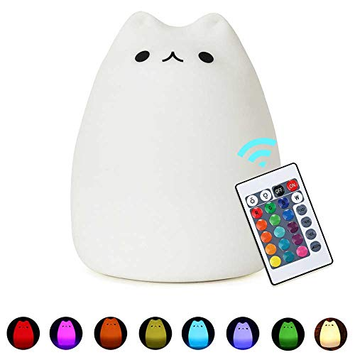 Umiwe Remote Control Cat Lamp,8 Color Cute Silicone Kitty Night Light for Kids Baby Children Nursery Toddler Birthday Gift (Celebrity Cat+Remote Control) ()