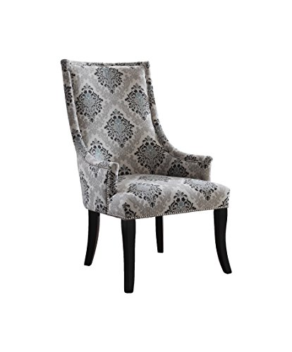 (Best Master Furniture 606 Audrey Gray Damask Fabric Living Room Accent Chair, Grey)