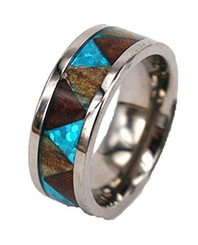 Hawaiian Tribal Designs - Maleka Designs Koa Titanium Ring Blue Triangle Pattern Tribal Hawaiian 8mm (9)