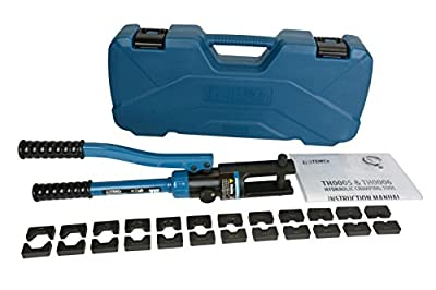 TEMCo Industrial Hydraulic Cable Lug Crimper TH0005-11 US TON 6 AWG to 600 MCM Electrical Terminal Cable Wire Tool Kit 5 YEAR WARRANTY