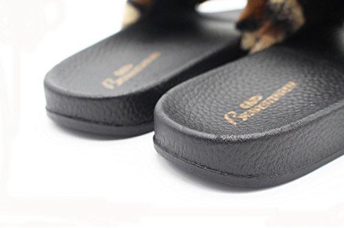 Flip señora Zapatillas DANDANJIE Leopard Interior caseros de Felpa de casa sintética Flops Print de 40 Piel 36 Zapatos Negro SqzSCfw