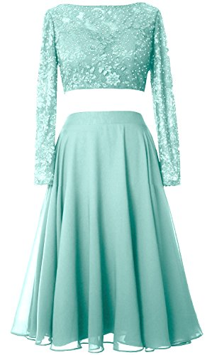 Lace Long Cocktail Elegant Gown Dress Formal Short Aqua Prom MACloth 2 Sleeve Piece XSt6448cq