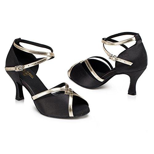 Crc Estilo Elegante Para Mujer Peep Toe Negro Satinado Salón Morden Salsa Latino Fiesta De Bodas Sandalias De Baile Profesional Negro