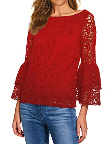 (Tobrief Women's Flare Long Sleeve Floral Mesh Lace Sheer Crochet Blouse Top(Wine)