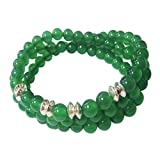 Green Agate Triple Strand Wrap Stretch Bead Bracelet Green Agate with Sterling Discs Jewelry for Women