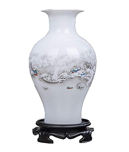 DRAGON SONIC Chinese White Ceramic Vase Art Home Decorative Vase,Landscape