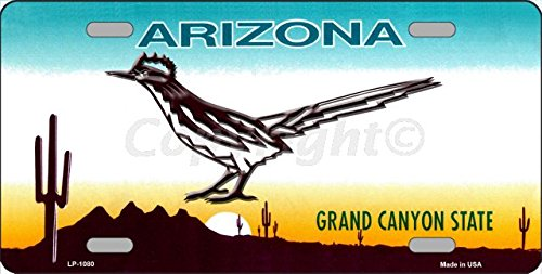 ROADRUNNER Arizona Novelty State Background Aluminum License Plate Tag (Background State License Plates)
