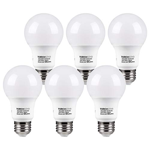 TORCHSTAR UL-Listed A19 LED Light Bulb, 9W (60W Incandescent Equivalent), E26/E27 Base 820lm 3000K Warm White, Pack of 6