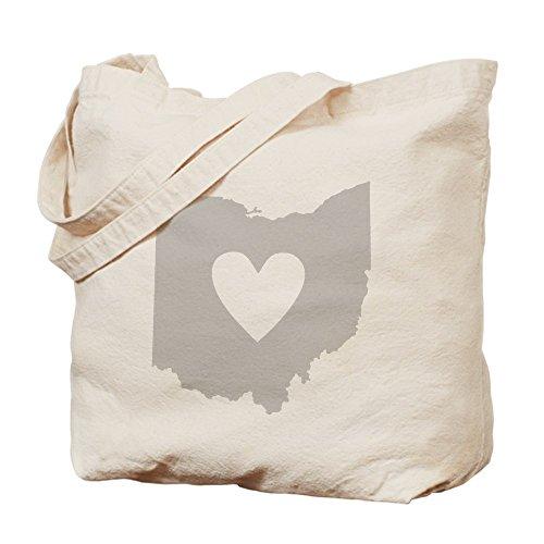 CafePress - Heart Ohio - Natural Canvas Tote Bag, Cloth Shopping - Cincinnati Shopping Ohio