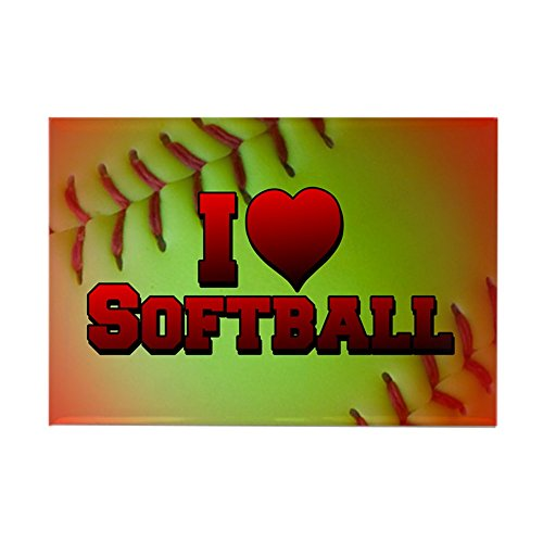 CafePress I Love Softball (Optic Yellow) Rectangle Magnet Rectangle Magnet, 2