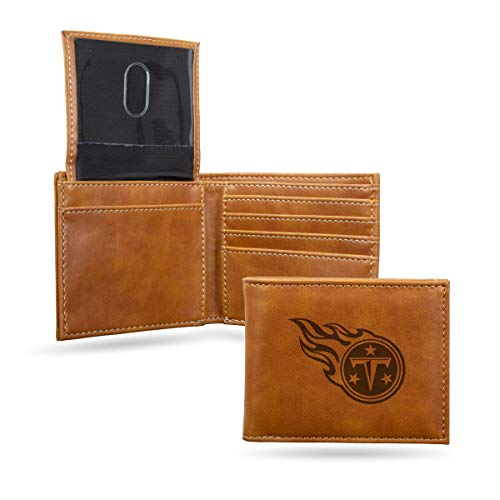 Rico Industries Tennessee Titans NFL Laser Engraved Billfold Wallet Brown