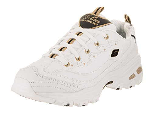 Womens White It Black With Gold D'Lites Skechers qngPaa
