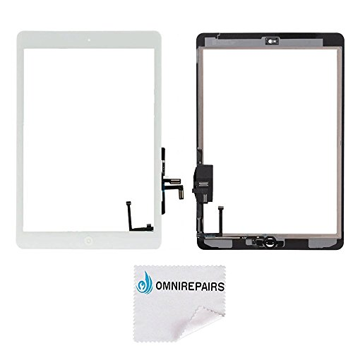 e iPad Air (iPad 5) 1st Generation Glass Touch Screen Digitizer Assembly Replacement with Home Button Flex, Rubber Gasket, Camera Bracket and Pre-installed Adhesive Tape ()