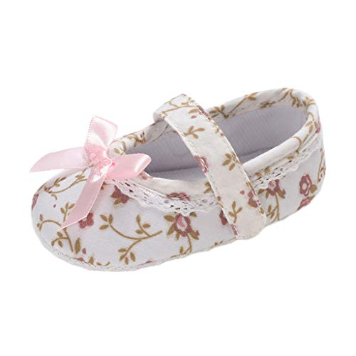 (LONGDAY Baby Girls Infant ler Sandal Casual Flat Comfy Soft Sole Embroidery Bow Floral Slip On First Walk Anti Skid White)