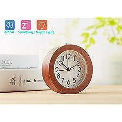 Alarm Clock Natural Wood Clock Large Face Alarm Clock with Night Light Ceiling Clocks Display Time (Brown)
